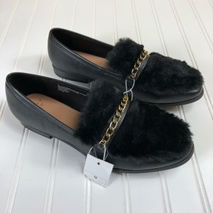 A New Day Faux Fur Black Loafers Target  Sz. 10